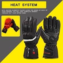 SAVIOR outdoor Motorbike battery heated glove fishing Waterproof riding racing heating man warming 40-65 degree leather EN13594