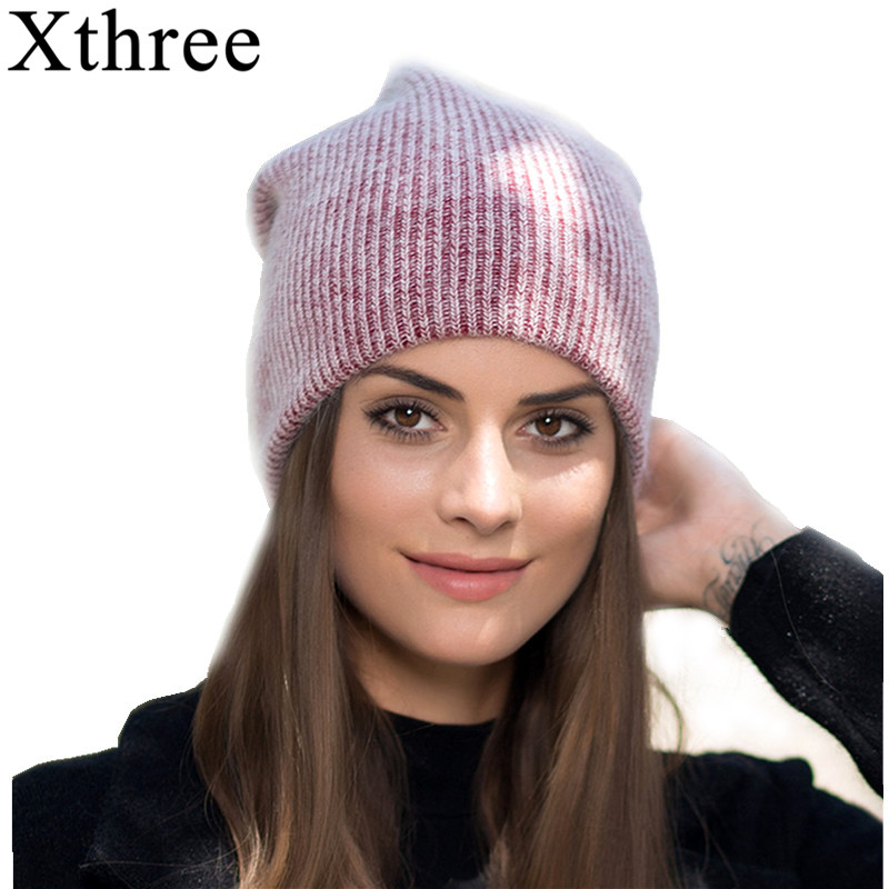 Xthree new simple Rabbit fur Beanie Hat for Women Winter hat Skullies Warm Gravity Falls Cap Gorros Female Cap