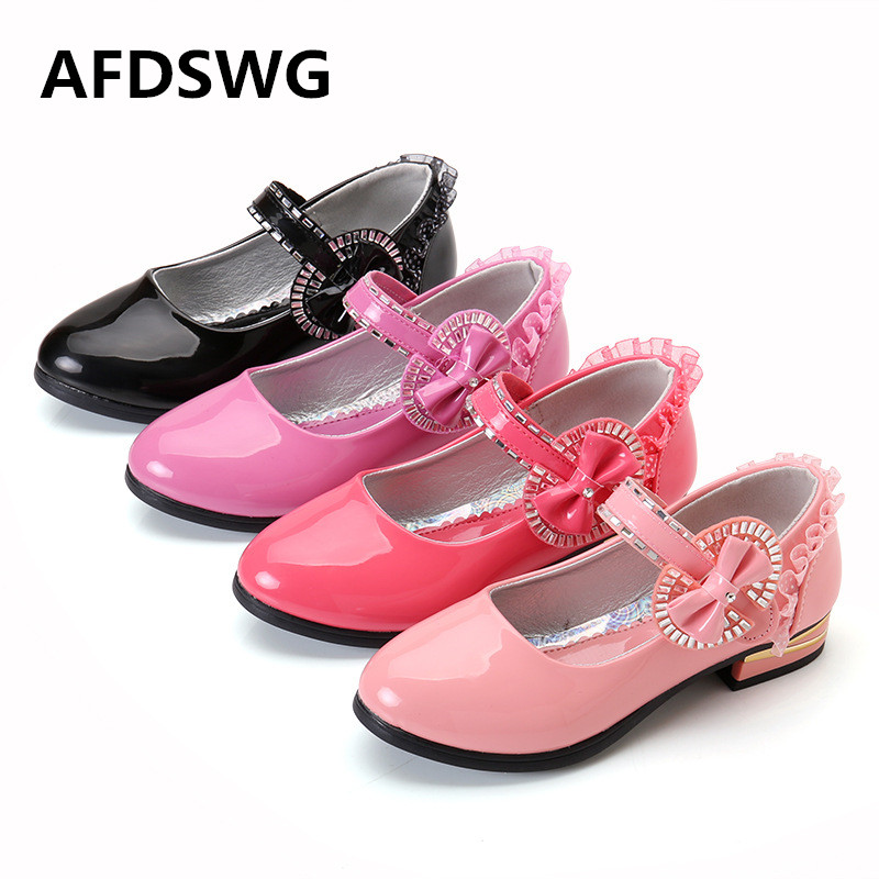 AFDSWG spring and autumn bow PU waterproof low black with black shoes for girls, girl shoes high heels pink shoes for girls