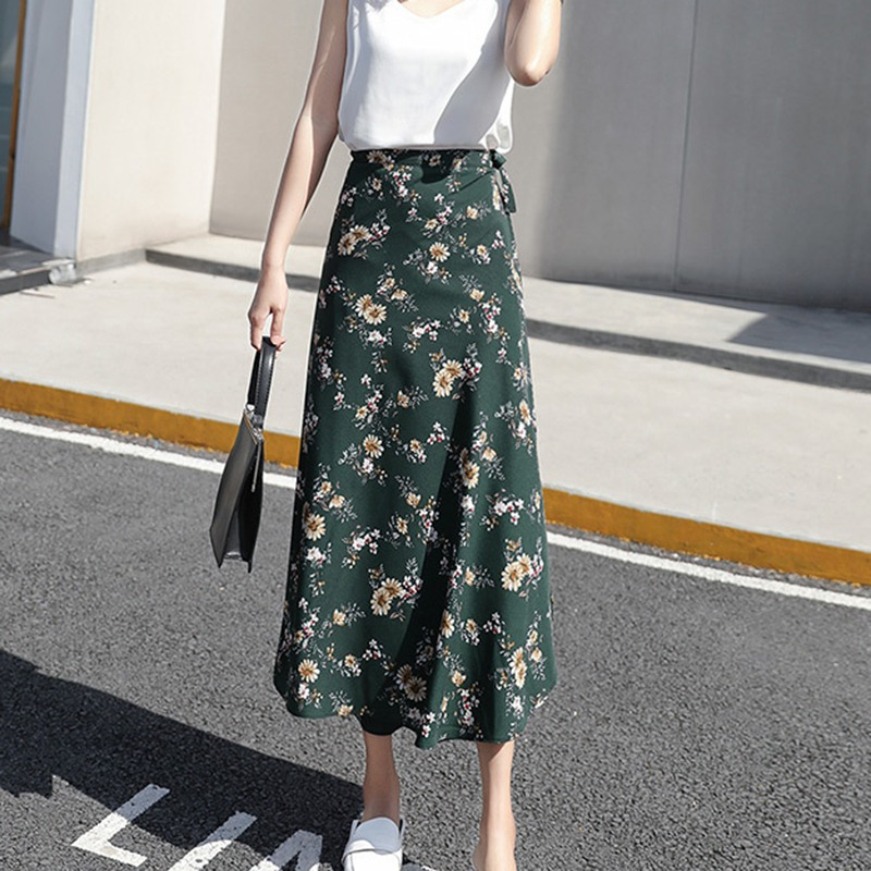 Women Flower Long Skirt Summer Beach Sunny Female Skirts Floral Chiffon Tutu Skirt title=