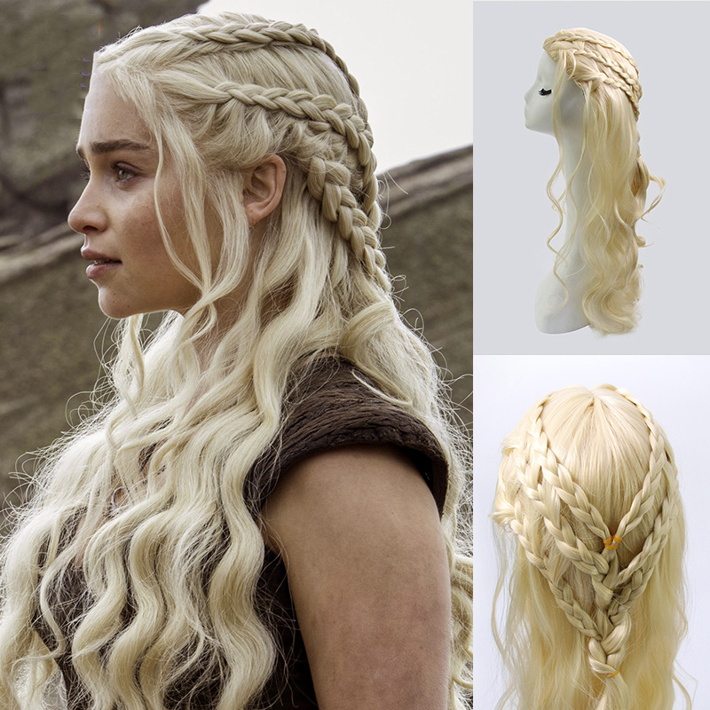 Game Of Thrones Daenerys Targaryen Cosplay Wig Synthetic Hair Long Wavy Dragon Of Mother Costume Wigs