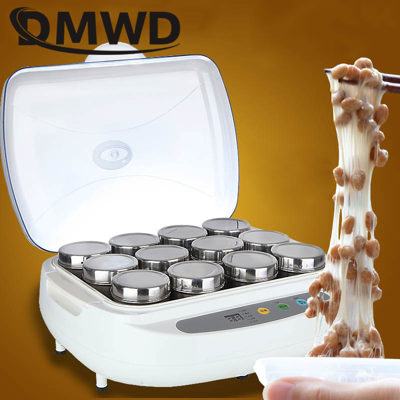 DMWD Automatic Electric Natto Maker Stainless Steel Cups Yogurt Tempeh Pickled Vegetable Rice Wine Machine Leben Fermenter 2.5L