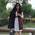 FF Марка Длинные Норки Жилет Новая Мода Осень Зима Faux Женщин норки Меховой Жилет С Капюшоном Роскошный Женщина Искусственного Меха Куртка Высокого Качества