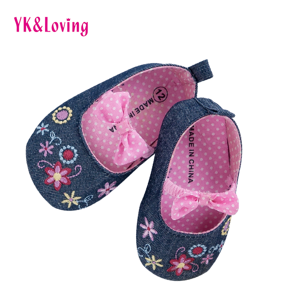 YK&Loving Flower Newborn Baby Girl Shoes Spring Summer Style Red Soft Cotton first walker Polka Dot Xmas Toddler Shoes 1 Pair