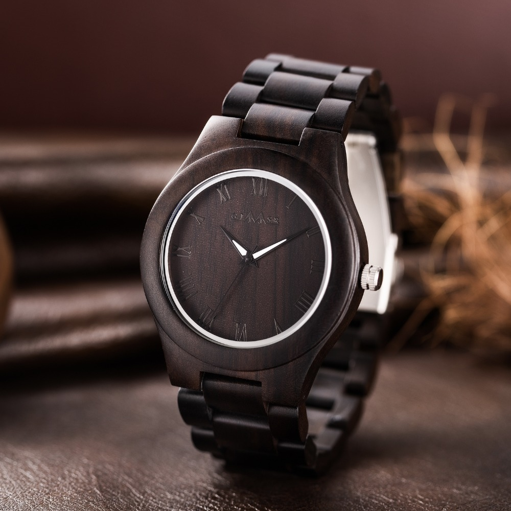 2018 GIMSR Luxury Brand Wood Watches Men Casual Watches Analog Quartz Wooden Handmade Wrist Watch Clock Male Relogio Masculino стоимость