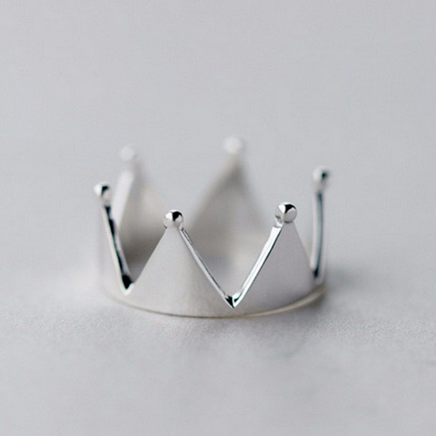 QIMING Silver Jewelry Elegant Exquisite Crown Ring Female For Princess Jewelry Rings For Girls Finger Ring