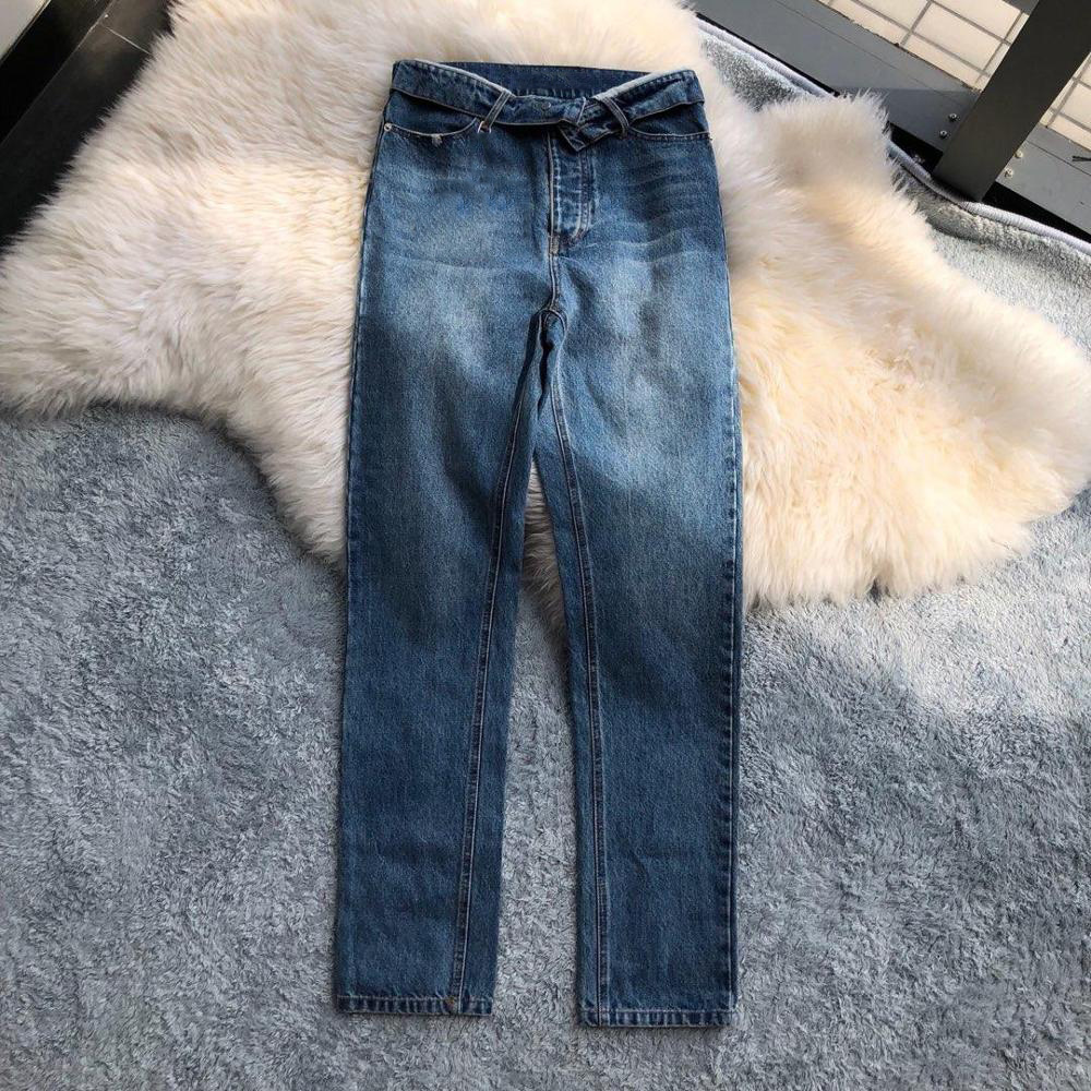 2019 ladies fashion loose cuffed high waist denim trousers 0712(China)