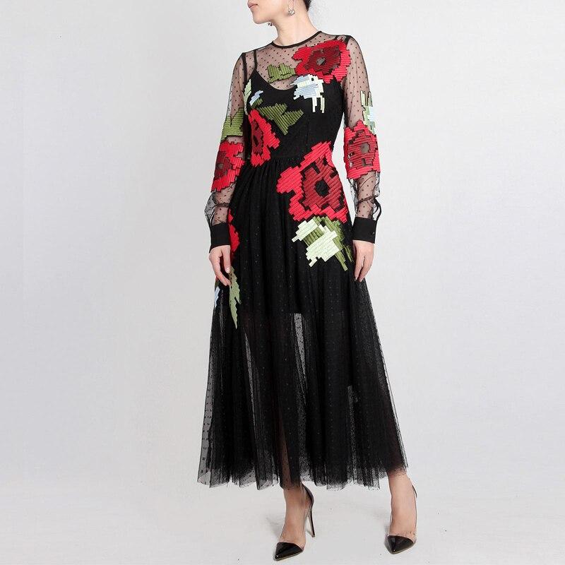 الأحمر RoosaRosee الصيف 2019 جديد الأوروبية والأمريكية الرجعية الكلاسيكية شبكة سوداء التطريز منظور طويل الأكمام المرأة اللباس-في فساتين من ملابس نسائية على  مجموعة 1