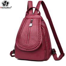 Fashion Knitting Backpack Female Brand Leather Backpack Women Large Capacity Bookbag Simple Shoulder Bags for Women 2019 Mochila