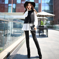 Original 2017 Brand Pants Spring Autumn Casual Black and White Stripes Full Leggings Women Wholesale