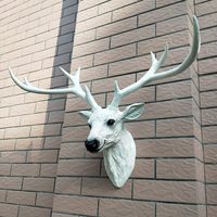 Deer head decoration Nordic style wall hanging lucky simulation American retro porch living room European stereo white