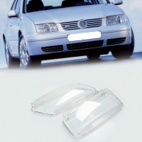 Liplasting 2x Transparent Headlight Lens Shell Cover Lamp Assembly Left Side Right Side Cover For Volkswagen