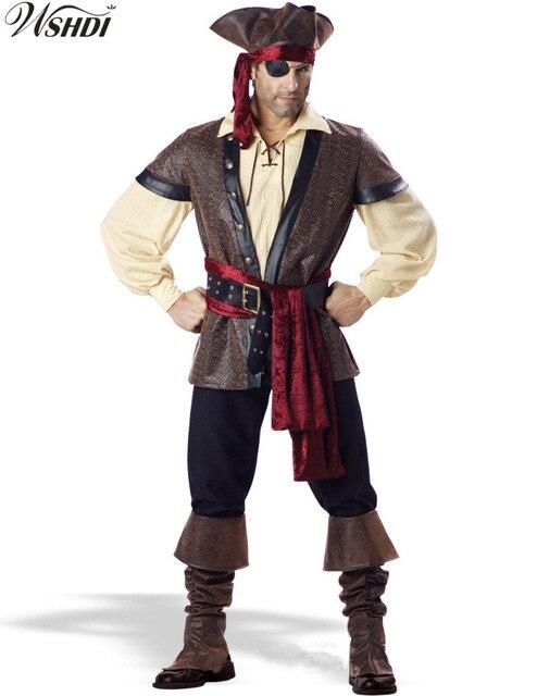 dad6b1661df20 6 unids nuevos hombres adultos traje de pirata hombre Halloween Partido de  Piratas del Caribe pirata