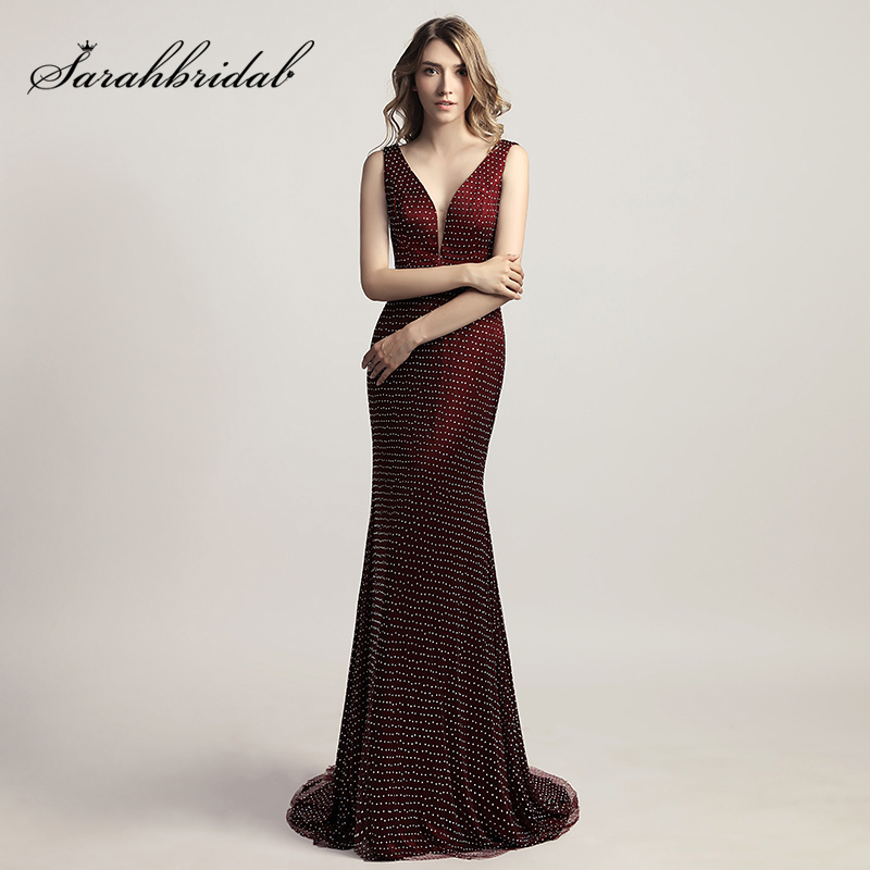 Shining Full Beading Long Mermaid Evening Dresses Burgundy Tulle Sexy V Neck Celebrity Gowns Sweep Train