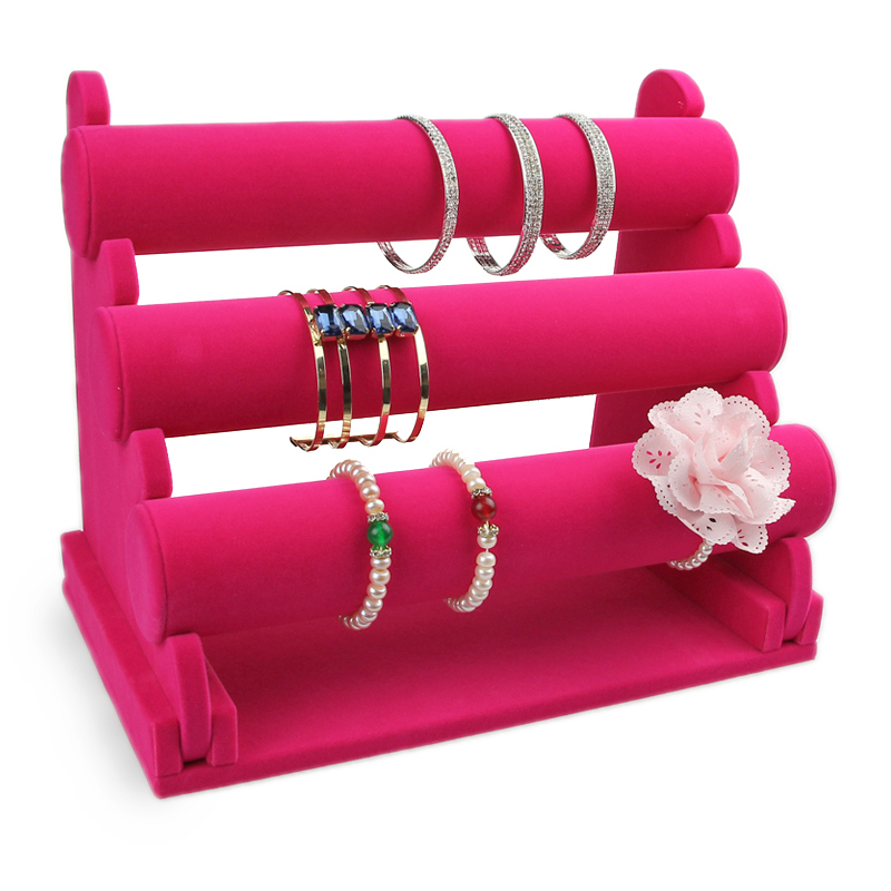 Good Quality and Cheap Price removable Three Layers pink Lint Bracelet Display removable multi layers bracelet
