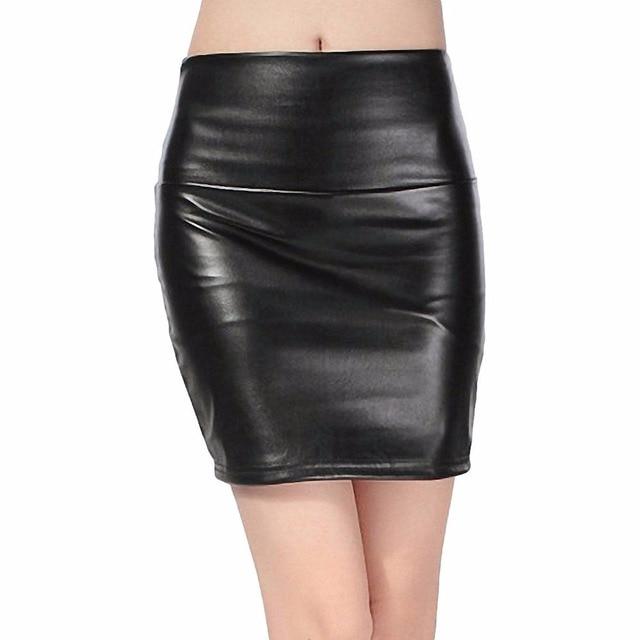 2018 spring autumn Fashion Women Skirts PU faux leather skirts tight stretch female short pencil mini skirt saias femininas