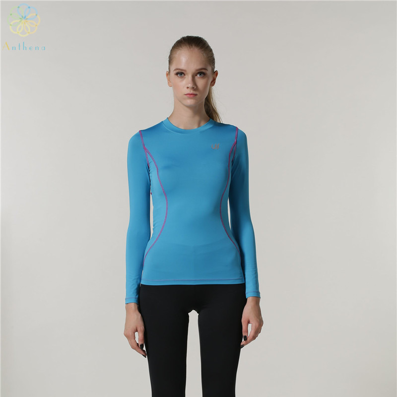 2016 women polyester spandex sports long sleeve t shirt Yoga shirts with sleeves