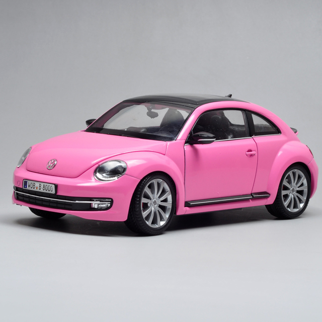 Cast Model Vw Beetle Pink 1 24 Alloy Car Metal Racing Vehicle Play Collectible Models Sport Cars Toys For Gift