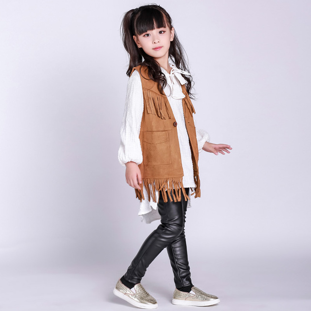2b3328cff Girls clothes 2017 autumn spring new children's clothing for 2 3 4 5 6 7 8  9 10 years old kids Leather pants + tops + vest