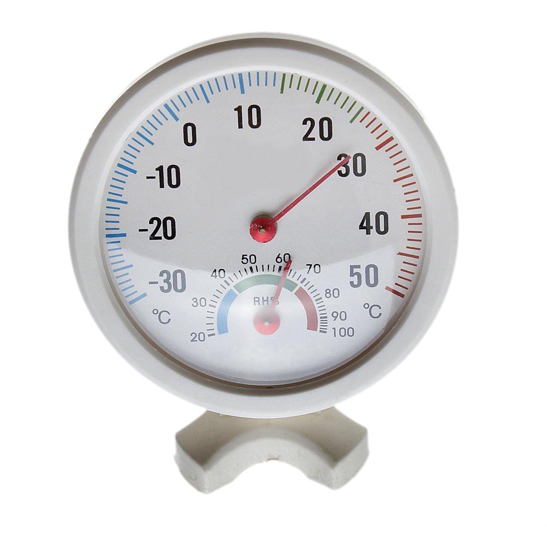 Thermometer Hygrometer Needle Round Dial TESTER Interior Exterior White