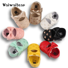 PU Leather Baby First Walkers Spring&Autumn  Shoes Bow Fringe Soft Soled Non-slip Footwear Crib For Girls
