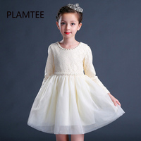 PLAMTEE Sunny Flower Girls Dress Pearls Vestidos Champagne Wedding Pageant 2017 Autumn Princess Party Dresses Children