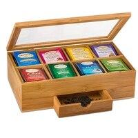 Tee Organizer Bambus Tee Box mit Kleinen Schublade 100% Natürliche Bambus Tee Brust Große Geschenk Idee-in Teedosen aus Heim und Garten bei