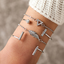 цена Fashion Gothic Crystal Charm Chain Bracelets Woman Hollow Silver Leaves Geometric Link Female Bracelet Set Party Jewelry Gift онлайн в 2017 году