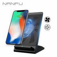 NANFU 5W/7.5W/10W Qi Wireless Charger Fast Charging Holder Vertical Air-cooled Stand for Huawei iPhone X Xs Samsung S8/S9 [RU]