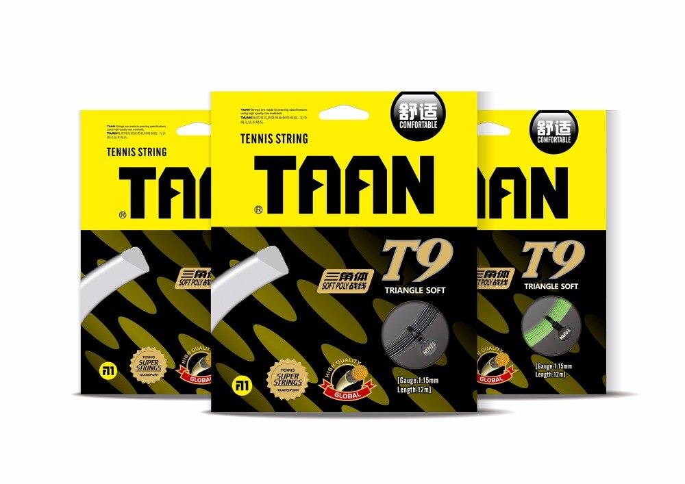 1 pc TAAN T9 Triangle doux de tennis cordes 1.15mm 12 M polyester tennis de raquette chaîne Circumrotate haute flexibilité de tennis cordes