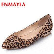 ENMAYLA/пикантные женские туфли на плоской подошве с леопардовым принтом новые летние туфли с острым носком женские балетки, размеры 34-39 удобная обувь