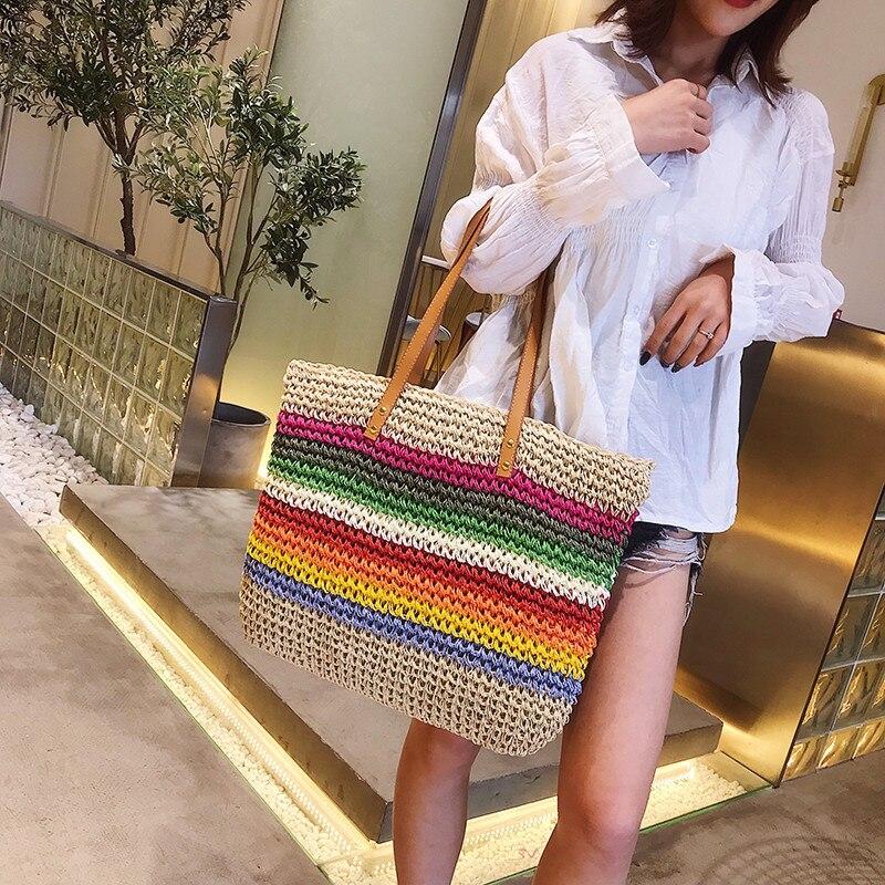 Women Luxury Straw Handbag Famous Designer Ladies Wicker Shoulder Hand Bag 2019 Beach Woven Girl Crossbody Bags Sac Main Femme