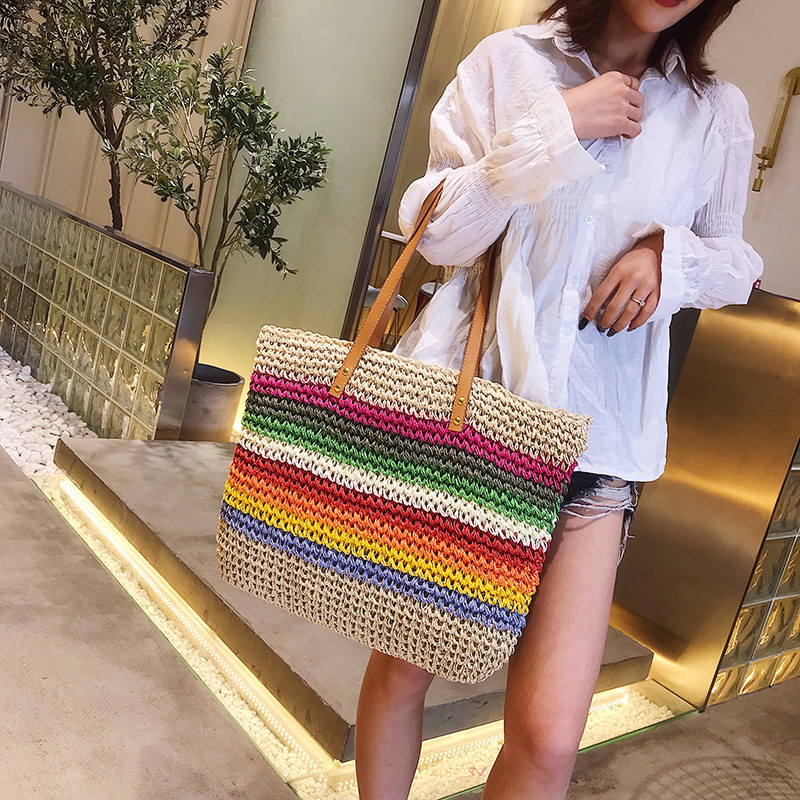 Women Luxury Straw Handbag Famous Designer Ladies Wicker Shoulder Hand Bag 2019 Beach Woven Girl Crossbody Bags Sac Main Femme