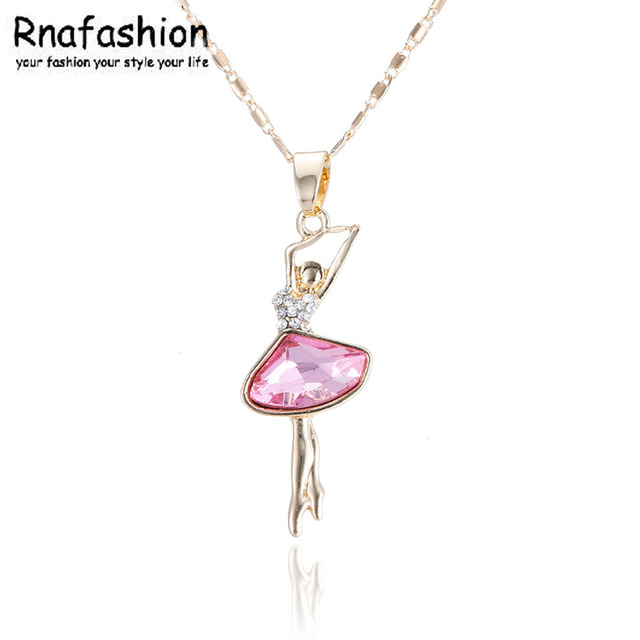 Alloy pendant European and American fashion ballerina crystal necklace Small jewelry