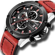 Luxo masculino relógio multifunções moda couro quartzo wistwatches com data nova marca curren à prova d30 água 30 m reloj presentes para homem