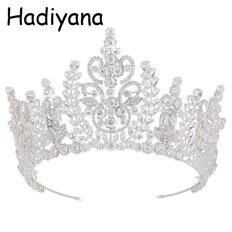 Hadiyana New Top Quality Wedding Bridal Headband Jewelry Crown Flower Cubic Zirconia Tiara 2018 Girls Zircon Tiara Crowns HG6040