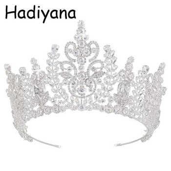 Hadiyana New Top Quality Wedding Bridal Headband Jewelry Crown Flower Cubic Zirconia Tiara 2018 Girls Zircon Tiara Crowns HG6040 - Category 🛒 Jewelry & Accessories