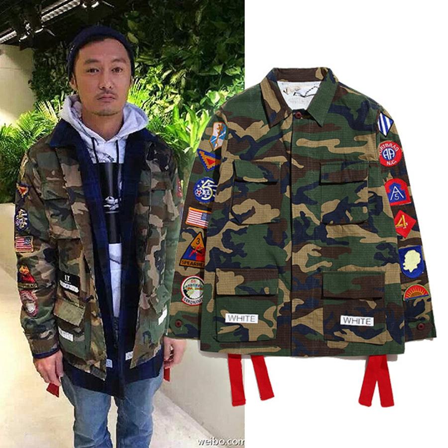 17c6c3ba Off White Virgil Abloh Camouflage hiphop Trench Jacket Pyrex kanye west men  Jacket Camo Clothes Jacket Military Uniform Jackets