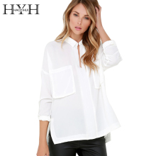 HYH Haoyihui 2017 Brand New Summer Fashion Women Double-Pocket Slim Casual Loose Black White Blouse Long Sleeve POLO Neck Blouse