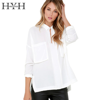 HYH Haoyihui 2016 Summer Double Pocket Fashion Slim Casual Loose Black White Long Sleeve New Woman