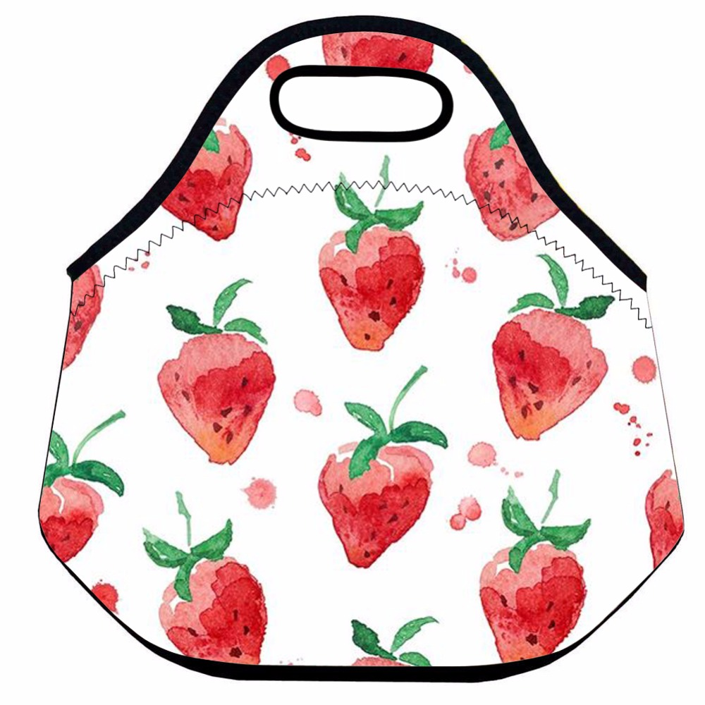 Strawberry Insulated Lunch Bag for Kids and Women,Neoprene Thermal Lunch Bag ,School Lunch Food Bag, Picnic Tote
