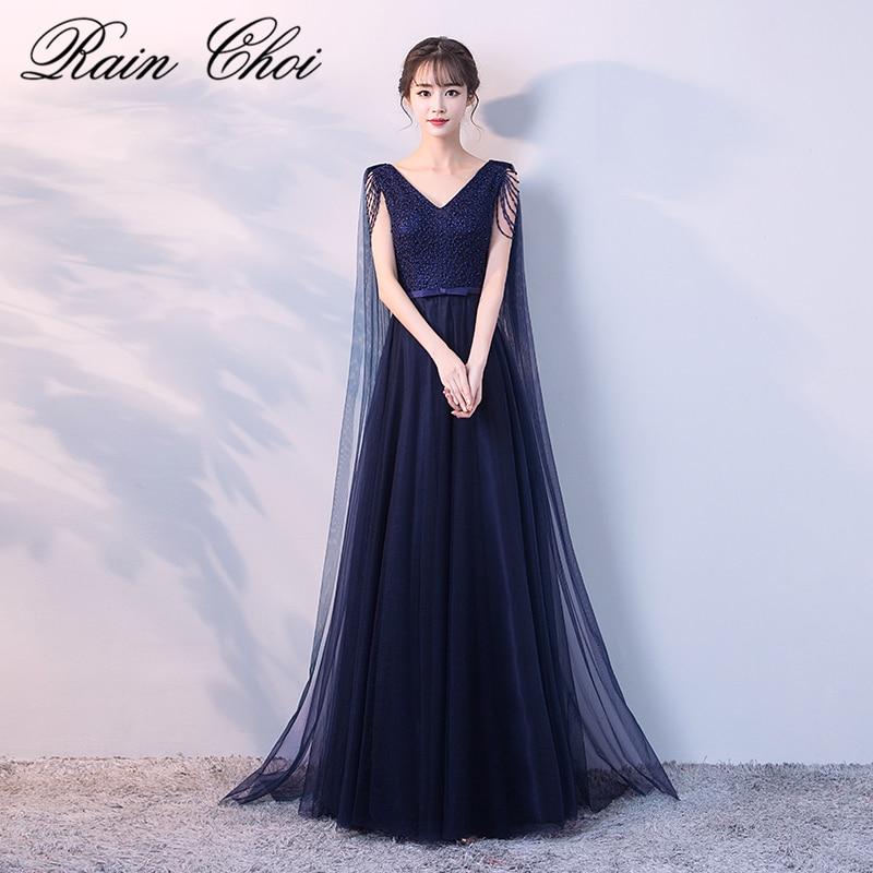 Real Image Navy Blue Evening Dress Long 2019 V Neck Elegant Tulle Evening Dresses Vestido De Festa Longo