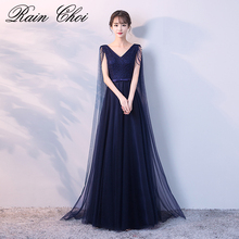 Real Image Navy Blue Evening Dress Long 2019 V Neck Elegant Tulle Dresses Vestido De Festa Longo