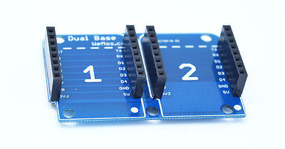 Dual Base for WeMos D1 mini Compatible WiFi Wireless Controller PCB DIY