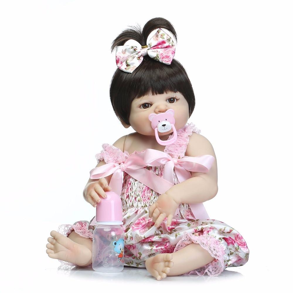 Handmade Cute 22inch All Vinyl Baby Girl Doll Toys 55cm Full Body Silicone Reborn Dolls NPKDOLL Realistic Lifelike BeBe Toy Gift in Dolls from Toys Hobbies