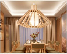 BOKT Wooden Hanging Ceiling Lamps Retro Concise Nordic Industrial Style Lamp Wood Pendant Indoor Lampshade