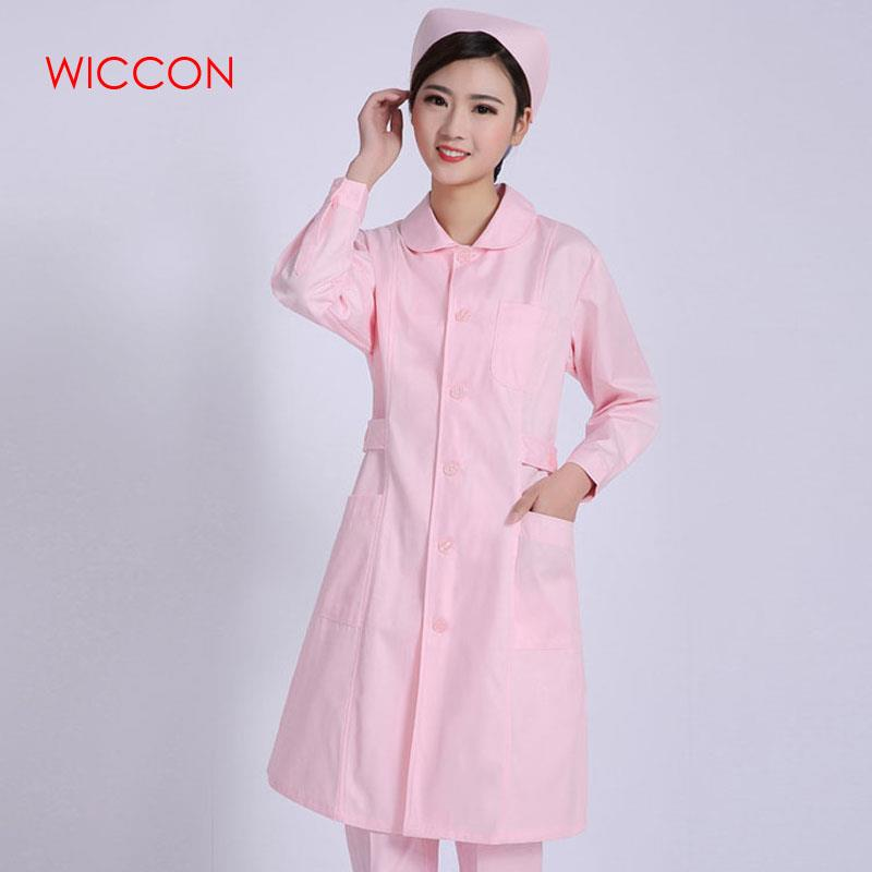WICCON Work Wear Uniforms Clothes 2020 New Fashion Pink Solid Work Clothes Nurse Uniform Pharmacy Hospital Long Work Clothes