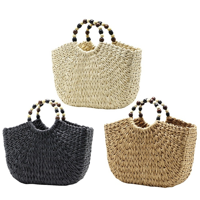 Straw Woven Handbags With Beads Handle