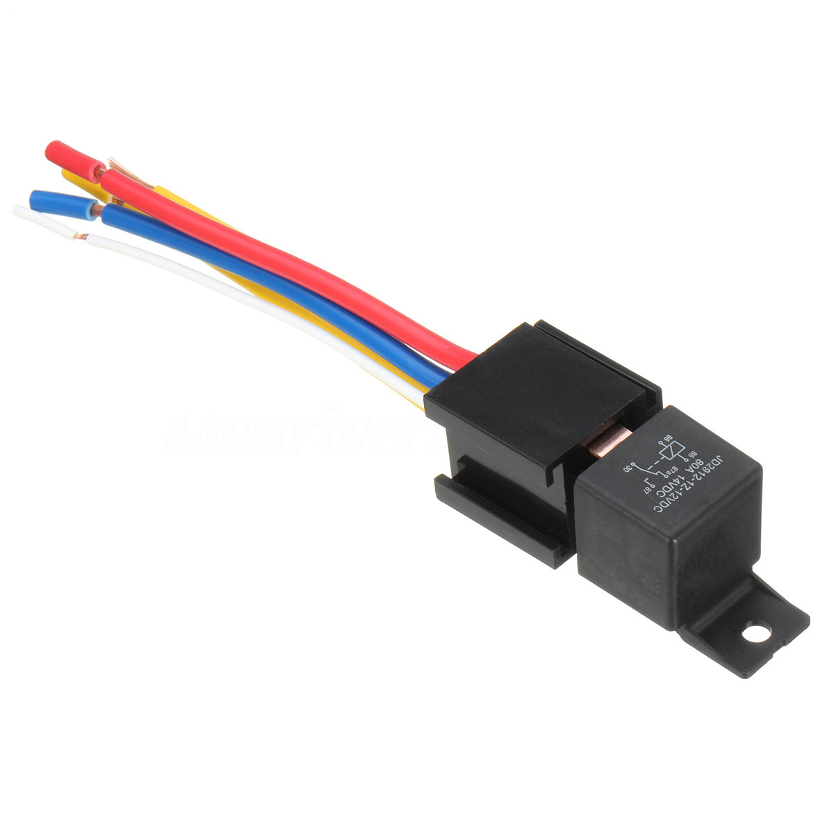 Mayitr Waterproof Black Car Relay 12v 80a 5pin Dc Amp Spdt Dpdt Normally Open Practical Socket