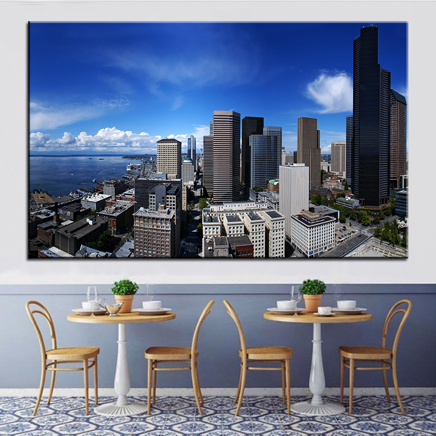 ∞Large size Printing Oil Painting seattle Wall painting Decor Wall ...